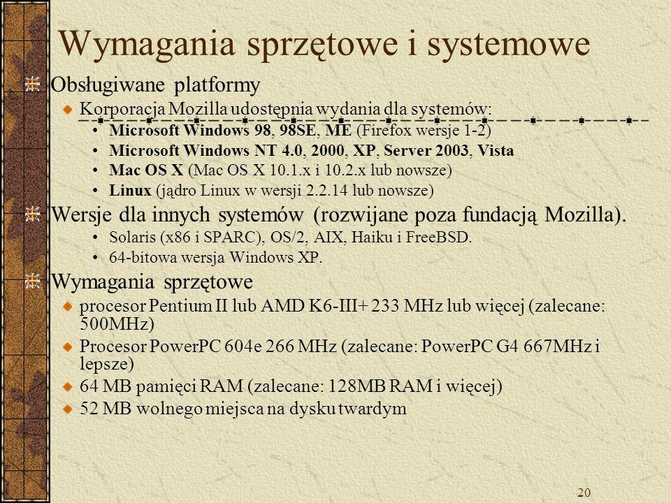 Wymagania sprzętowe i systemowe