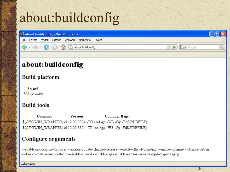 about:buildconfig
