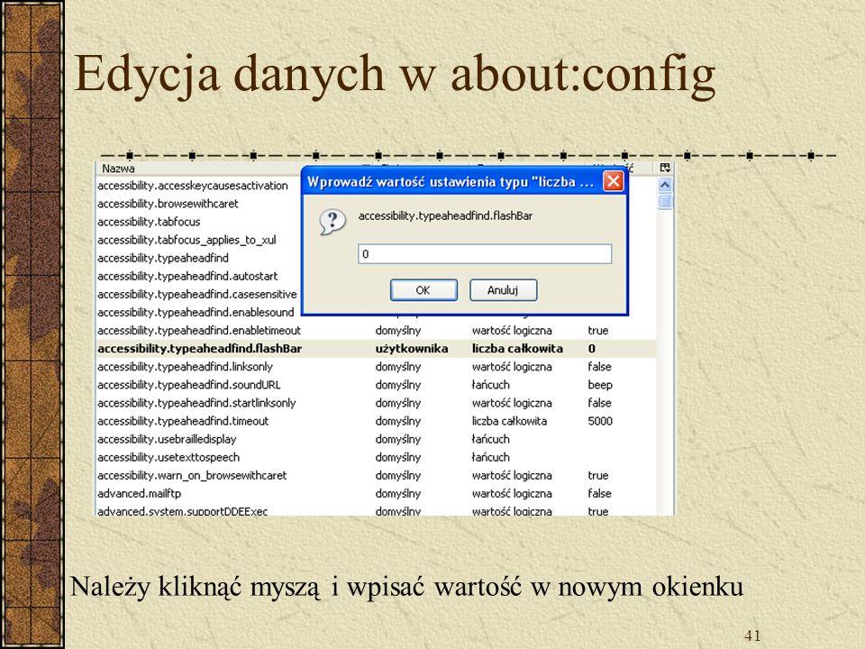 Edycja danych w about:config
