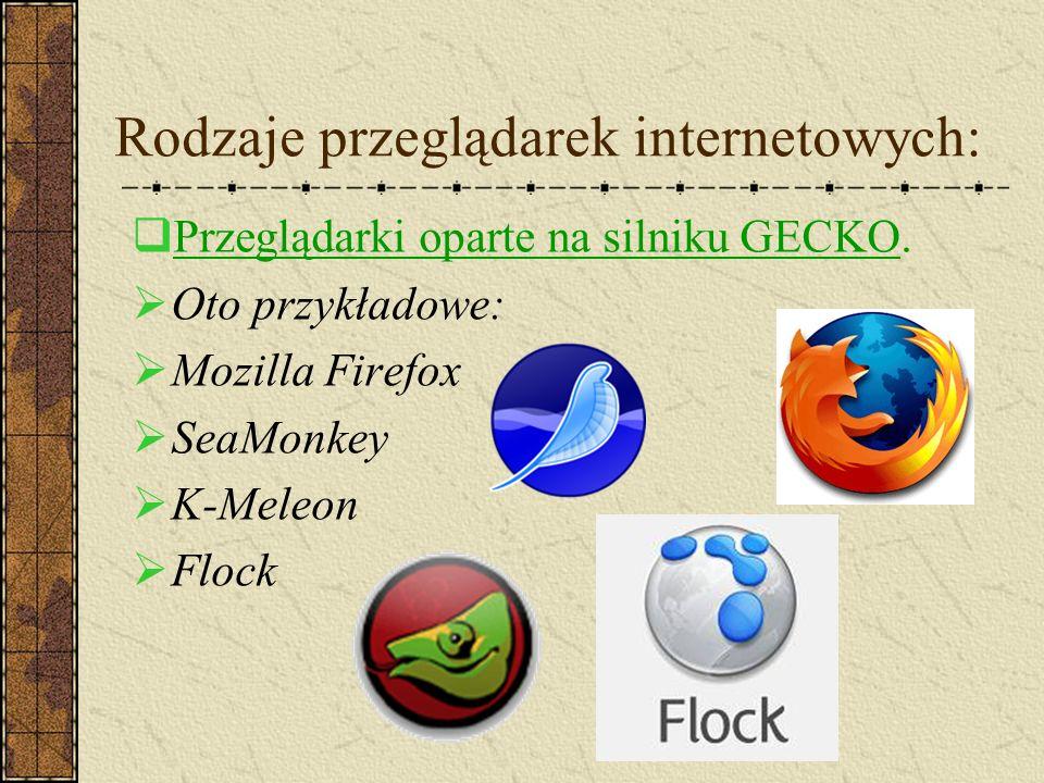 Rodzaje przeglądarek internetowych: