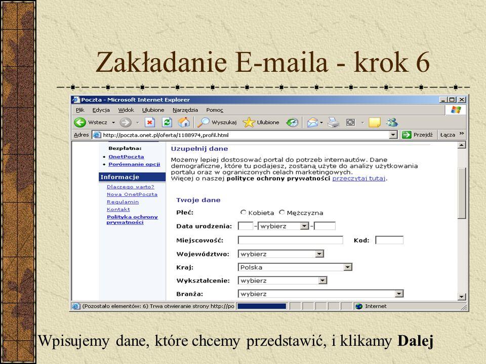 Zakładanie E-maila - krok 6