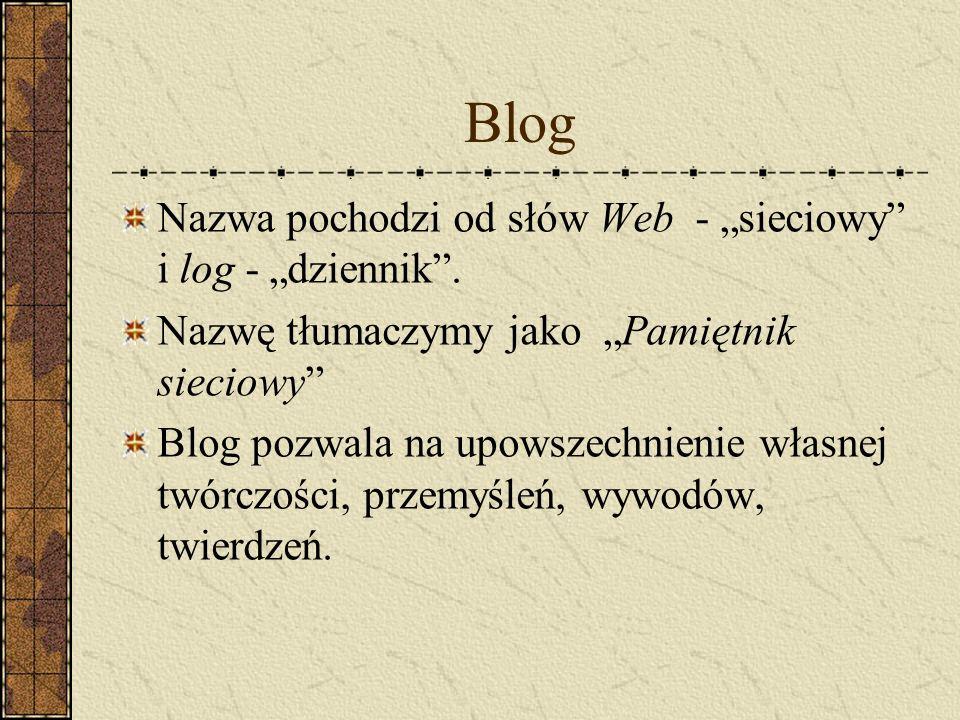 """Blog Nazwa pochodzi od słów Web - """"sieciowy i log - """"dziennik ."""