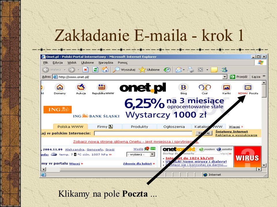 Zakładanie E-maila - krok 1