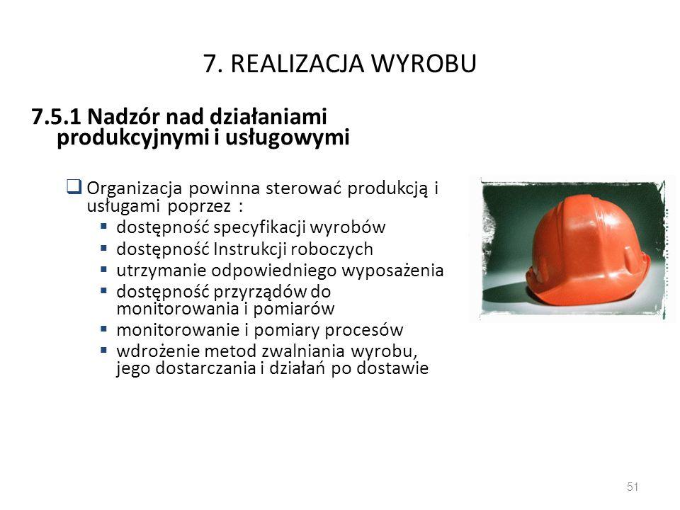 7. REALIZACJA WYROBU7.5.1 Nadzór nad działaniami produkcyjnymi i usługowymi. Organizacja powinna sterować produkcją i usługami poprzez :