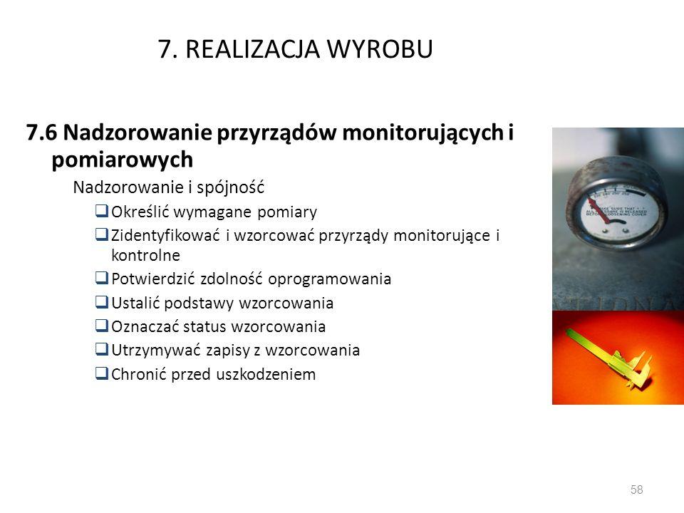 7. REALIZACJA WYROBU7.6 Nadzorowanie przyrządów monitorujących i pomiarowych. Nadzorowanie i spójność.