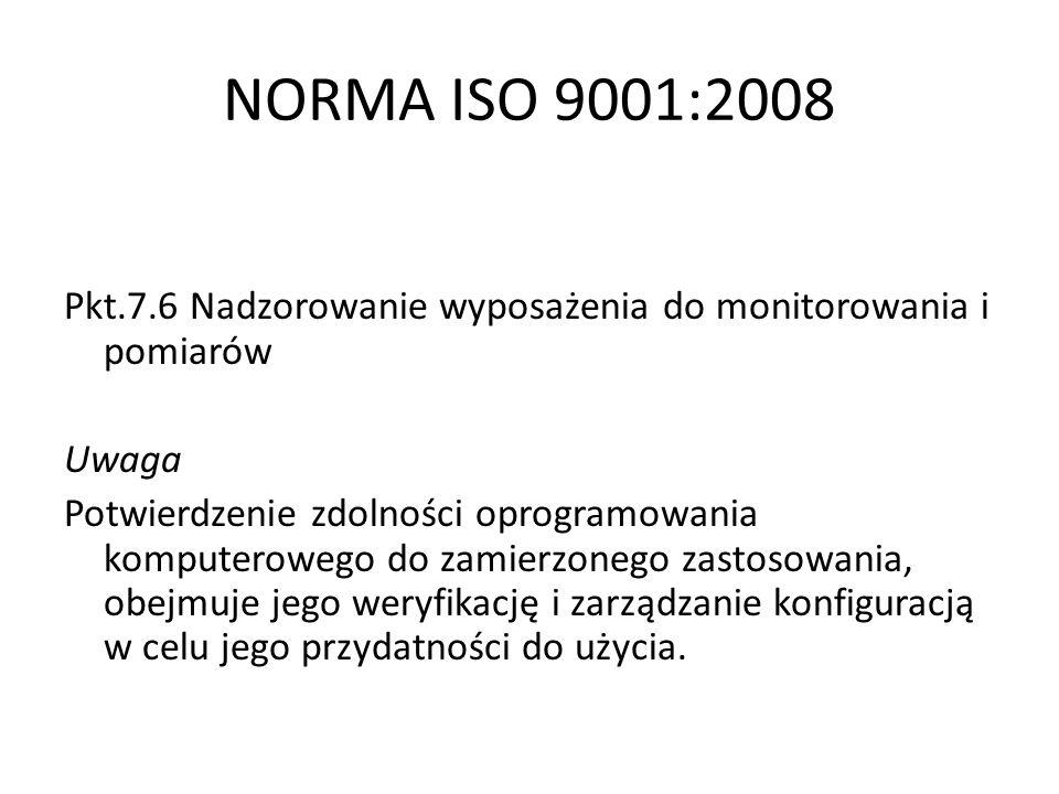 NORMA ISO 9001:2008Pkt.7.6 Nadzorowanie wyposażenia do monitorowania i pomiarów. Uwaga.