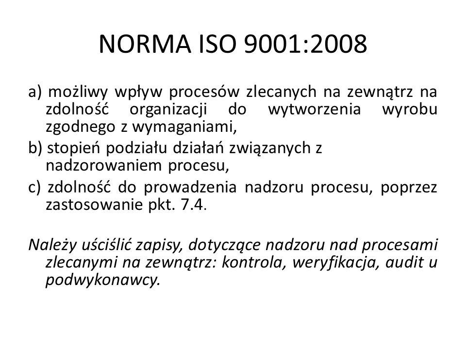 NORMA ISO 9001:2008a) możliwy wpływ procesów zlecanych na zewnątrz na zdolność organizacji do wytworzenia wyrobu zgodnego z wymaganiami,