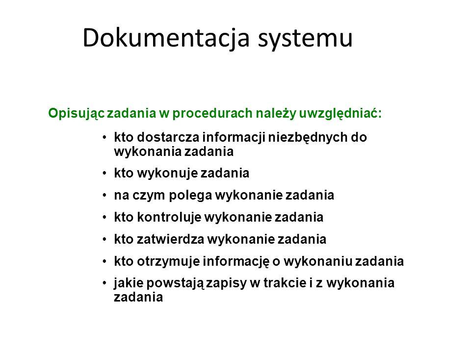 Dokumentacja systemuOpisując zadania w procedurach należy uwzględniać: kto dostarcza informacji niezbędnych do wykonania zadania.