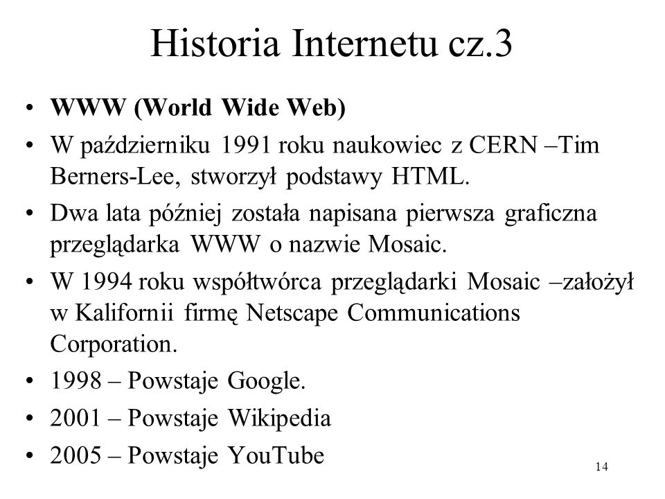 Historia Internetu cz.3 WWW (World Wide Web)