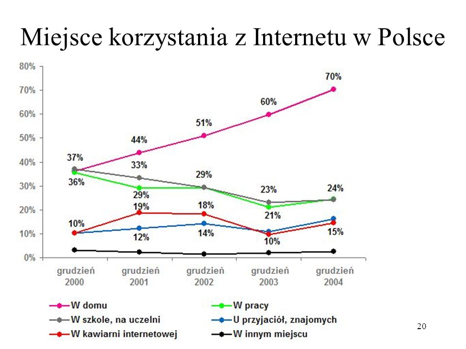 Miejsce korzystania z Internetu w Polsce