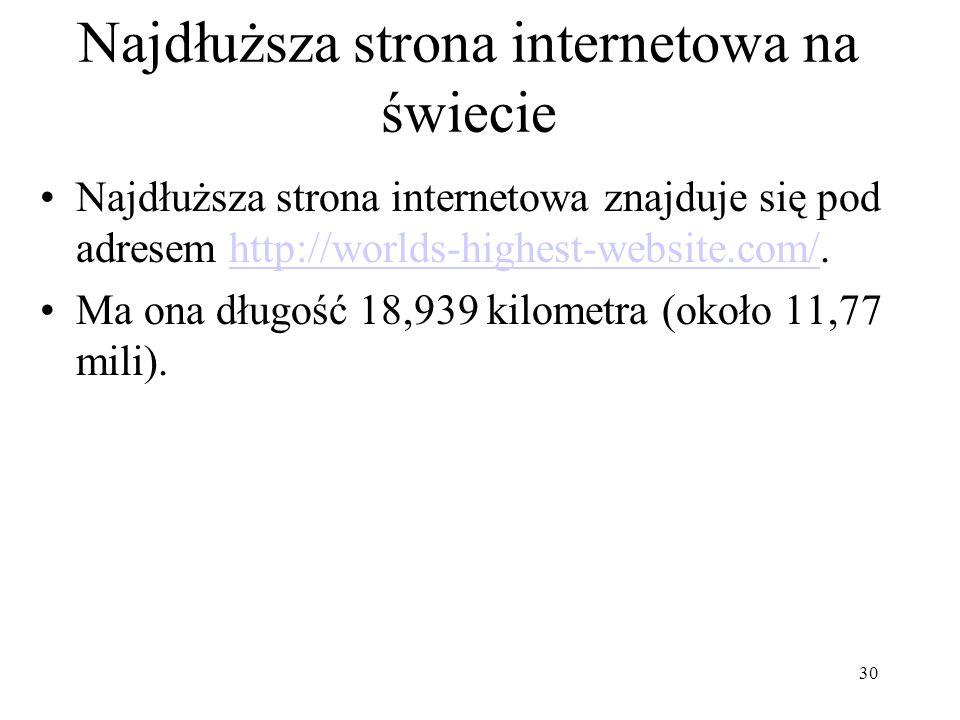 Najdłuższa strona internetowa na świecie