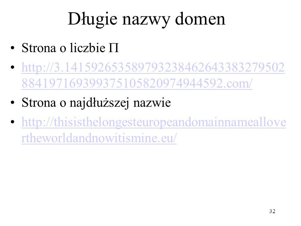 Długie nazwy domen Strona o liczbie 