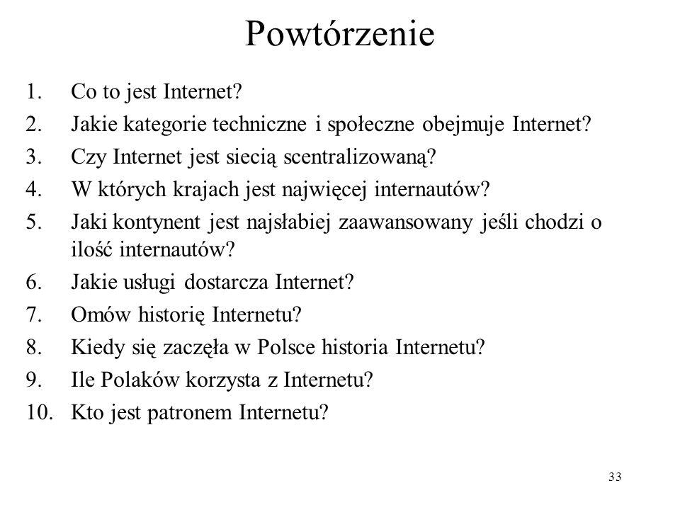 Powtórzenie Co to jest Internet