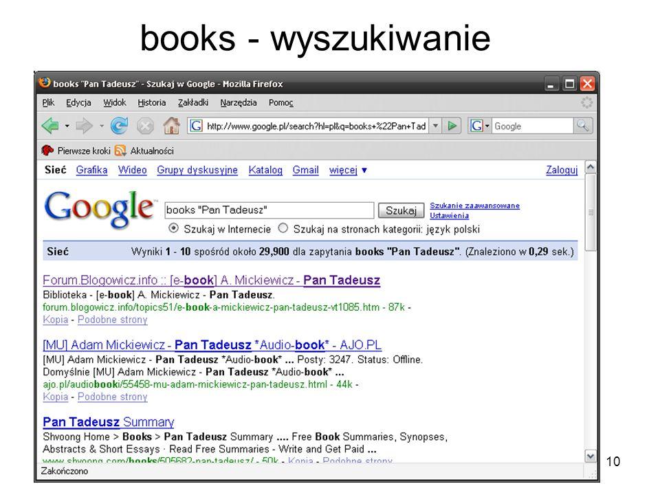 books - wyszukiwanie