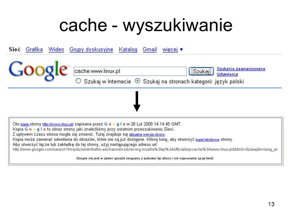 cache - wyszukiwanie