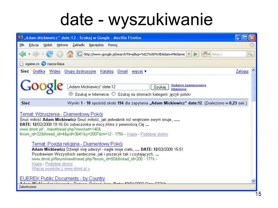 date - wyszukiwanie