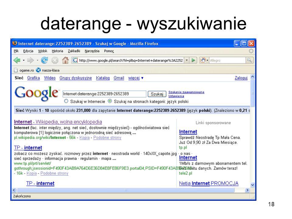 daterange - wyszukiwanie
