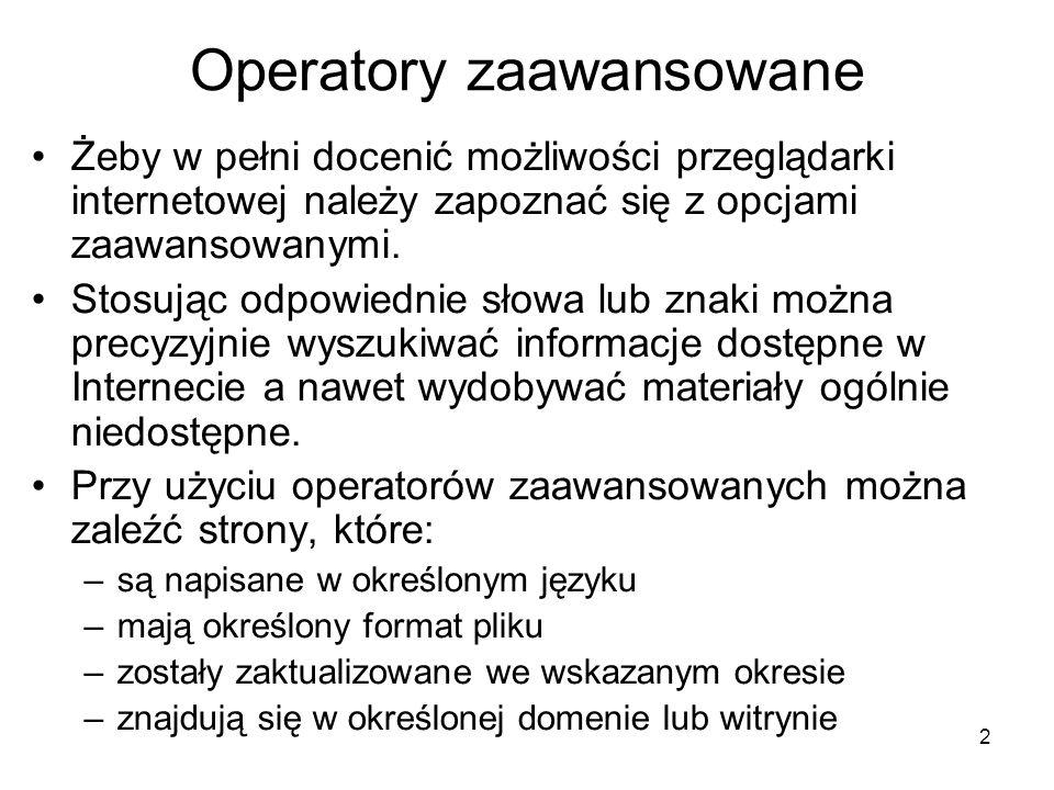 Operatory zaawansowane