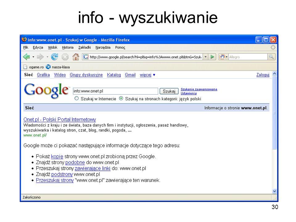 info - wyszukiwanie