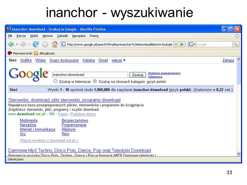inanchor - wyszukiwanie