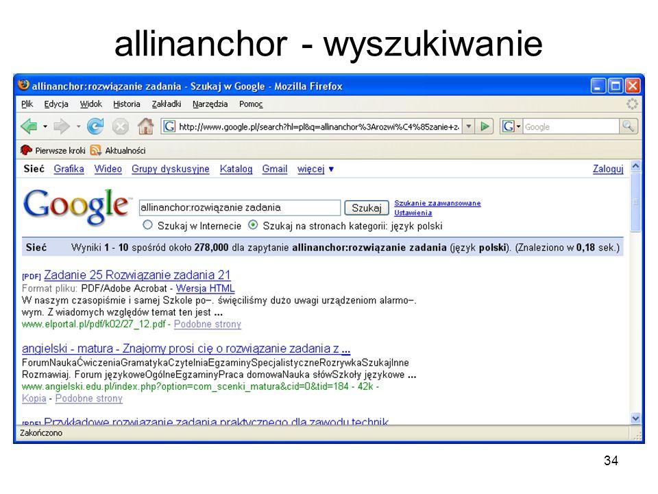 allinanchor - wyszukiwanie