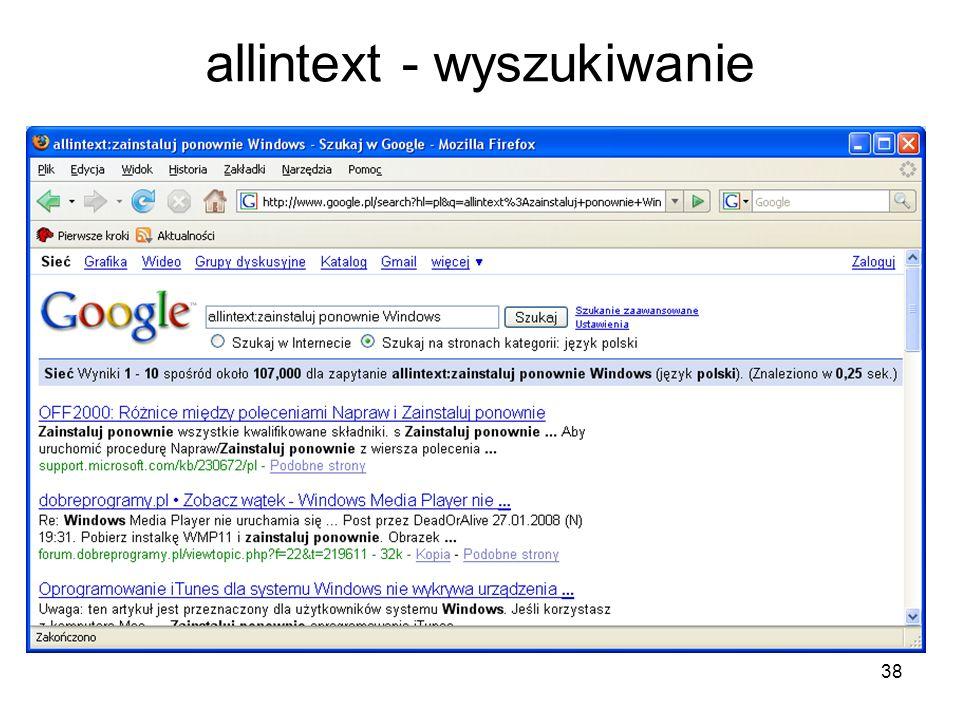 allintext - wyszukiwanie