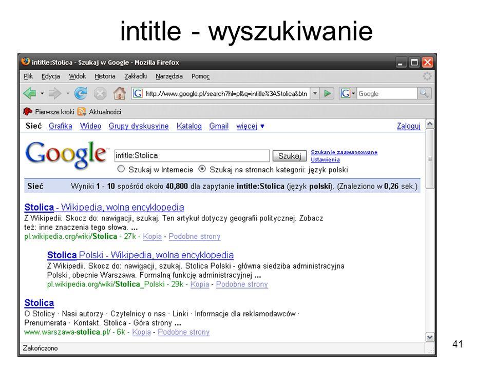 intitle - wyszukiwanie