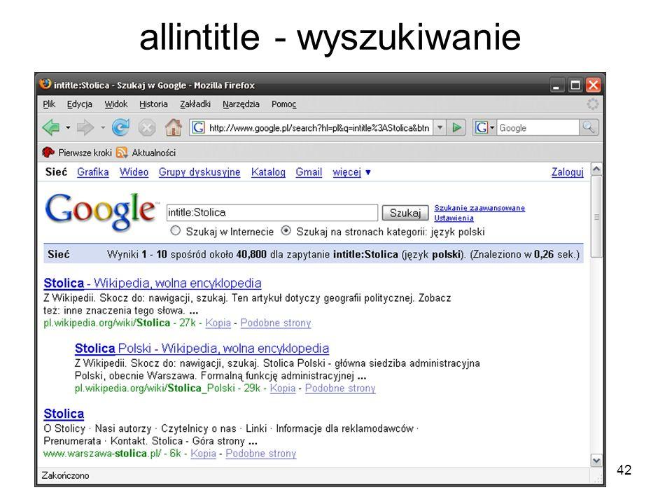 allintitle - wyszukiwanie