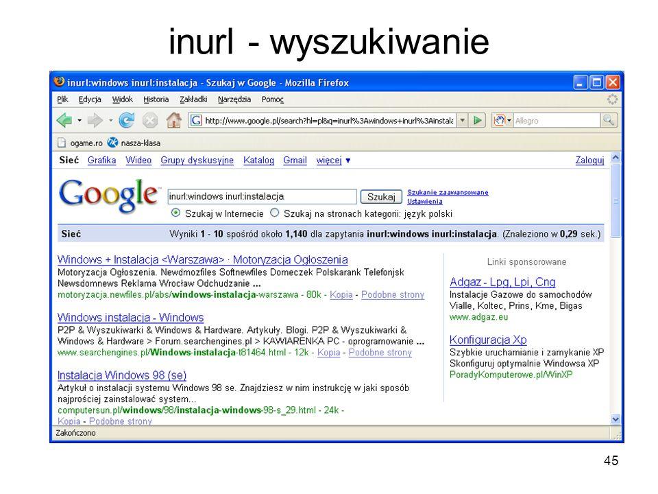 inurl - wyszukiwanie