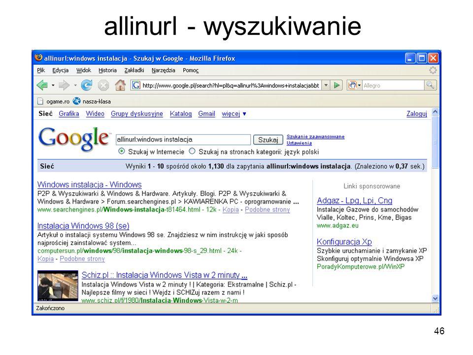allinurl - wyszukiwanie