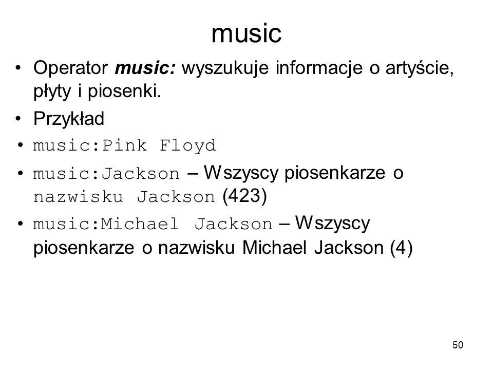 music Operator music: wyszukuje informacje o artyście, płyty i piosenki. Przykład. music:Pink Floyd.