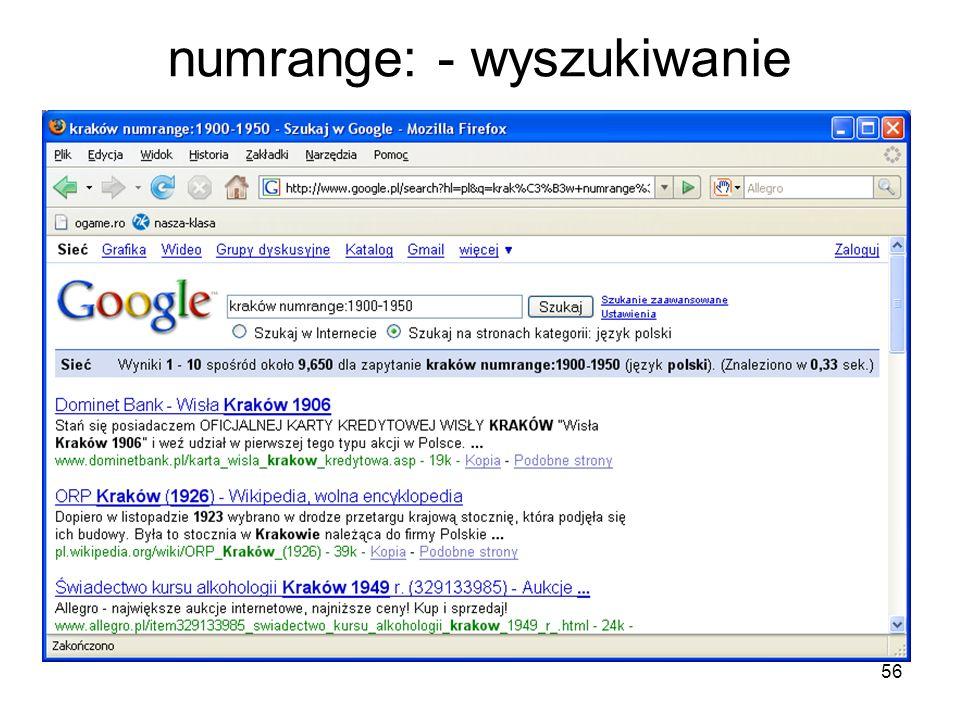 numrange: - wyszukiwanie
