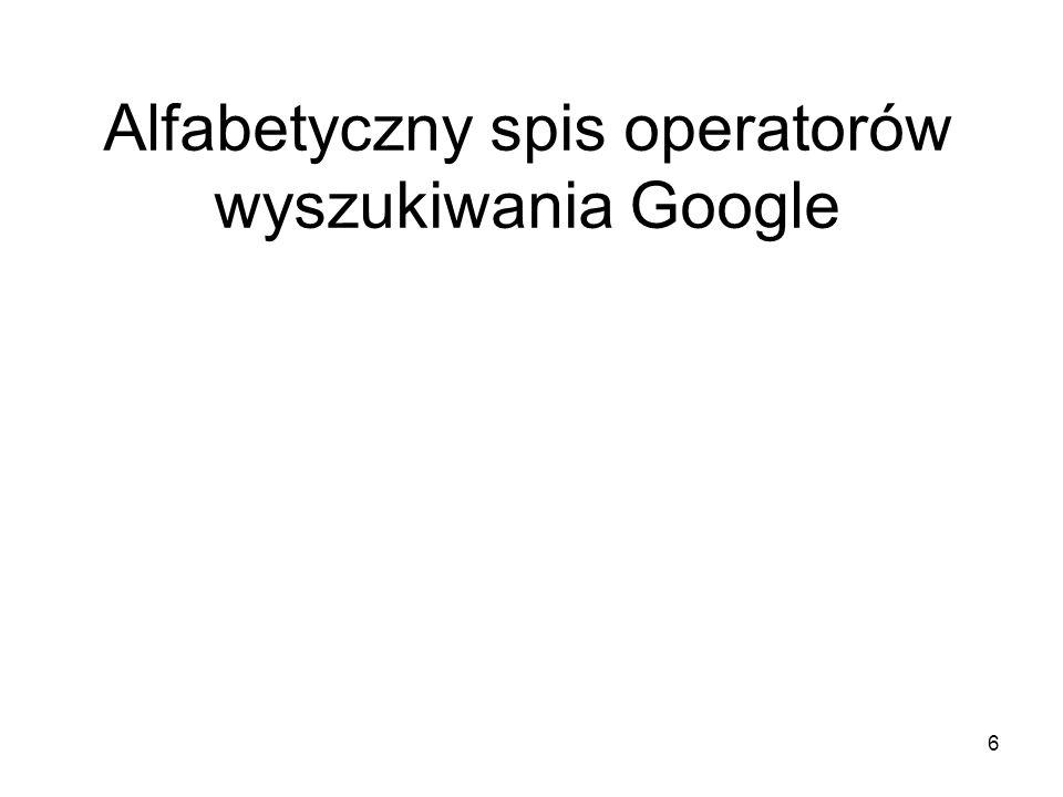 Alfabetyczny spis operatorów wyszukiwania Google