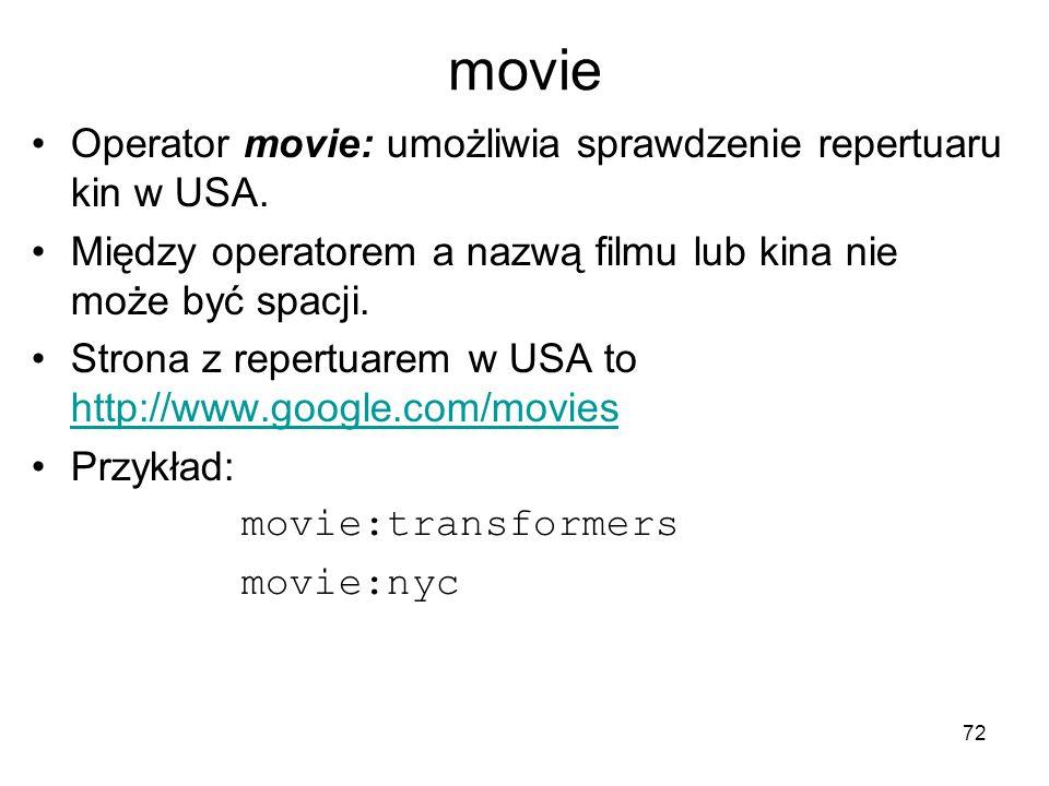 movie Operator movie: umożliwia sprawdzenie repertuaru kin w USA.