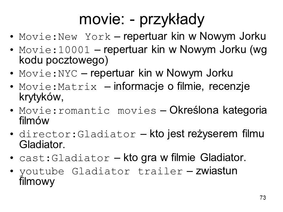 movie: - przykłady Movie:New York – repertuar kin w Nowym Jorku