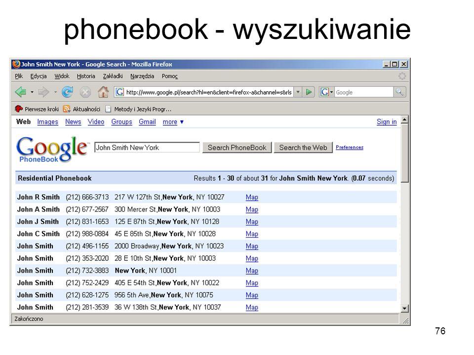 phonebook - wyszukiwanie