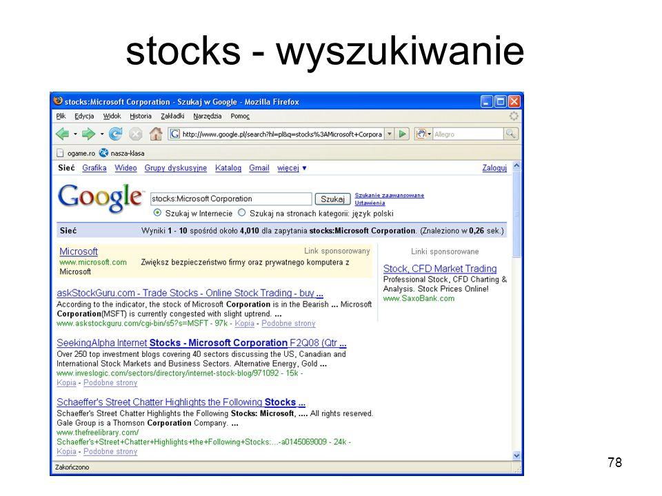 stocks - wyszukiwanie