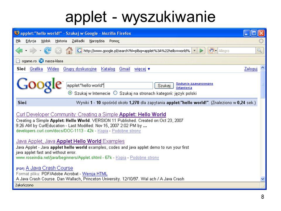 applet - wyszukiwanie
