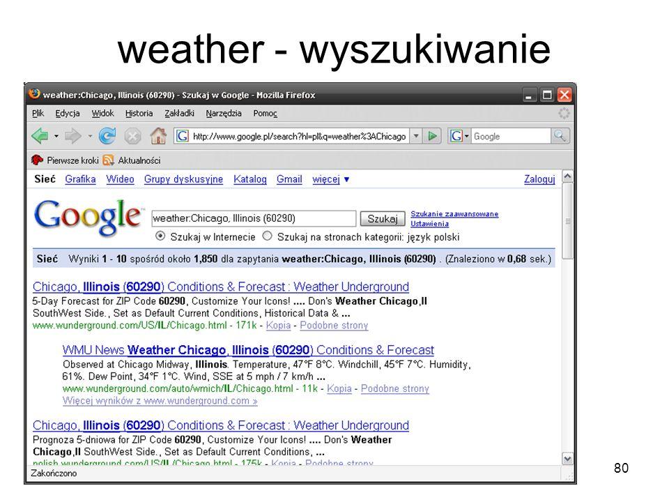 weather - wyszukiwanie