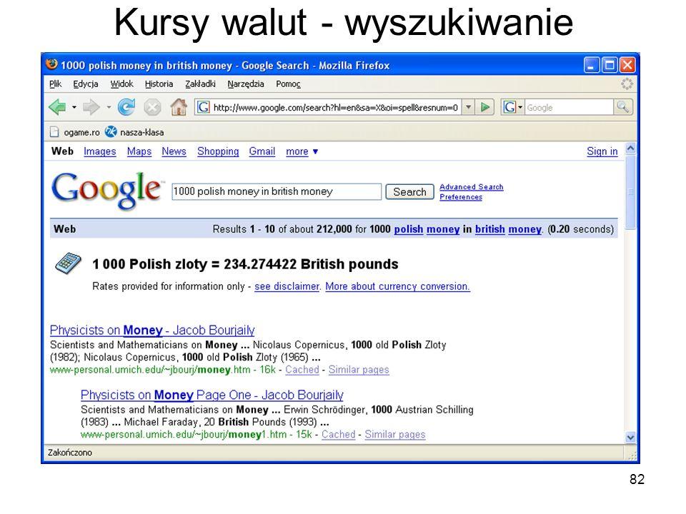 Kursy walut - wyszukiwanie