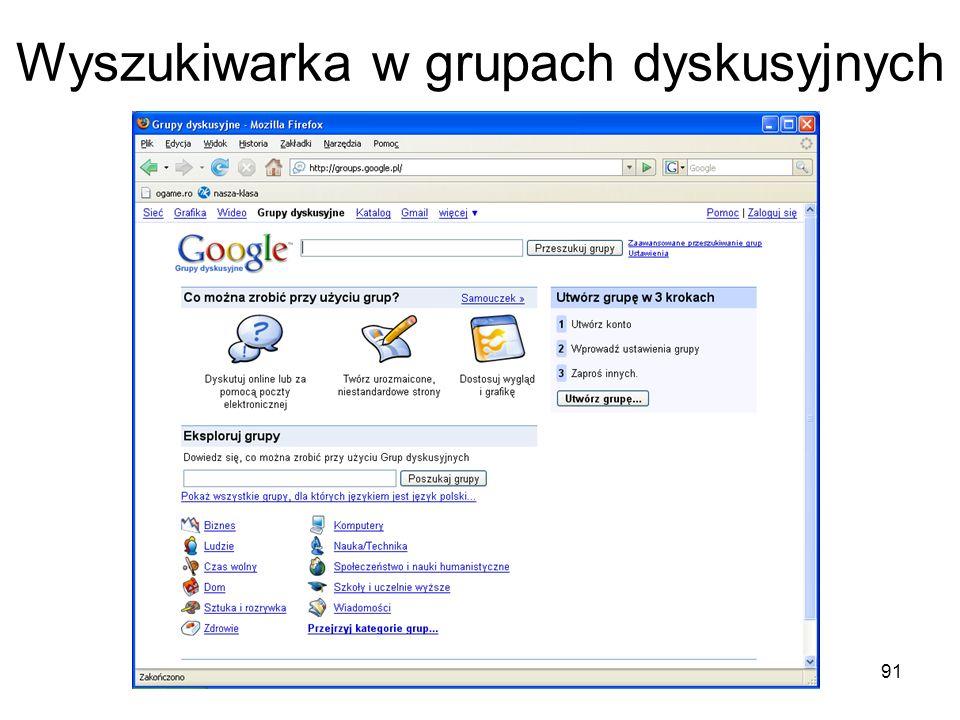 Wyszukiwarka w grupach dyskusyjnych