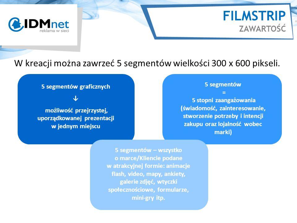 FILMSTRIP ZAWARTOŚĆ W kreacji można zawrzeć 5 segmentów wielkości 300 x 600 pikseli. 5 segmentów graficznych.