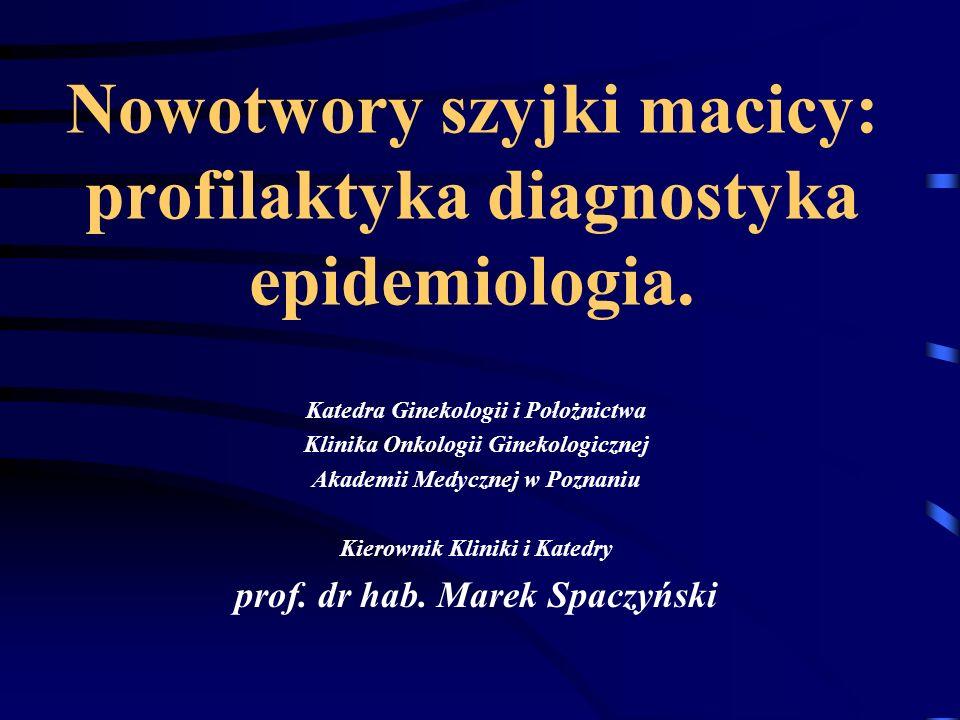 Nowotwory szyjki macicy: profilaktyka diagnostyka epidemiologia.