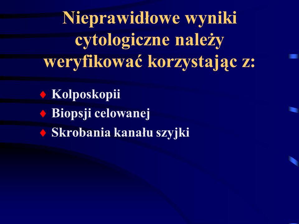 Nieprawidłowe wyniki cytologiczne należy weryfikować korzystając z: