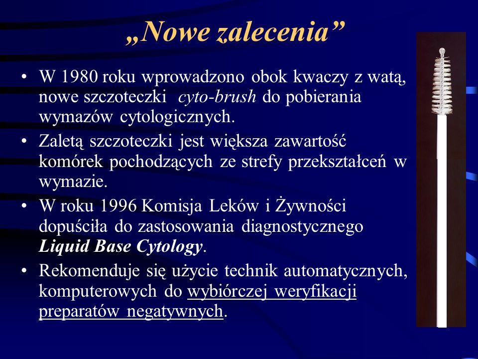 """""""Nowe zalecenia W 1980 roku wprowadzono obok kwaczy z watą, nowe szczoteczki cyto-brush do pobierania wymazów cytologicznych."""