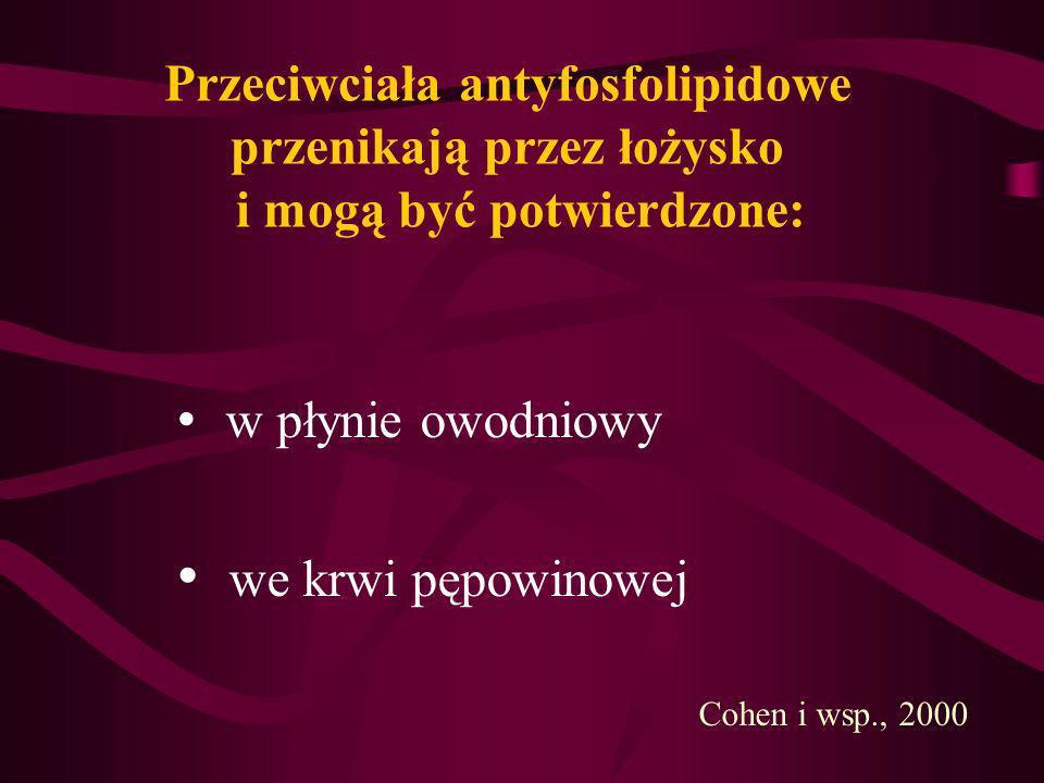 Przeciwciała antyfosfolipidowe przenikają przez łożysko i mogą być potwierdzone: