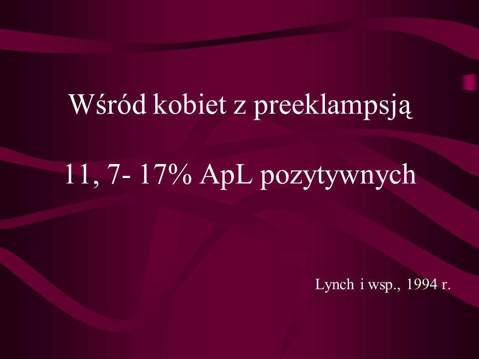 Wśród kobiet z preeklampsją 11, 7- 17% ApL pozytywnych. Lynch i wsp