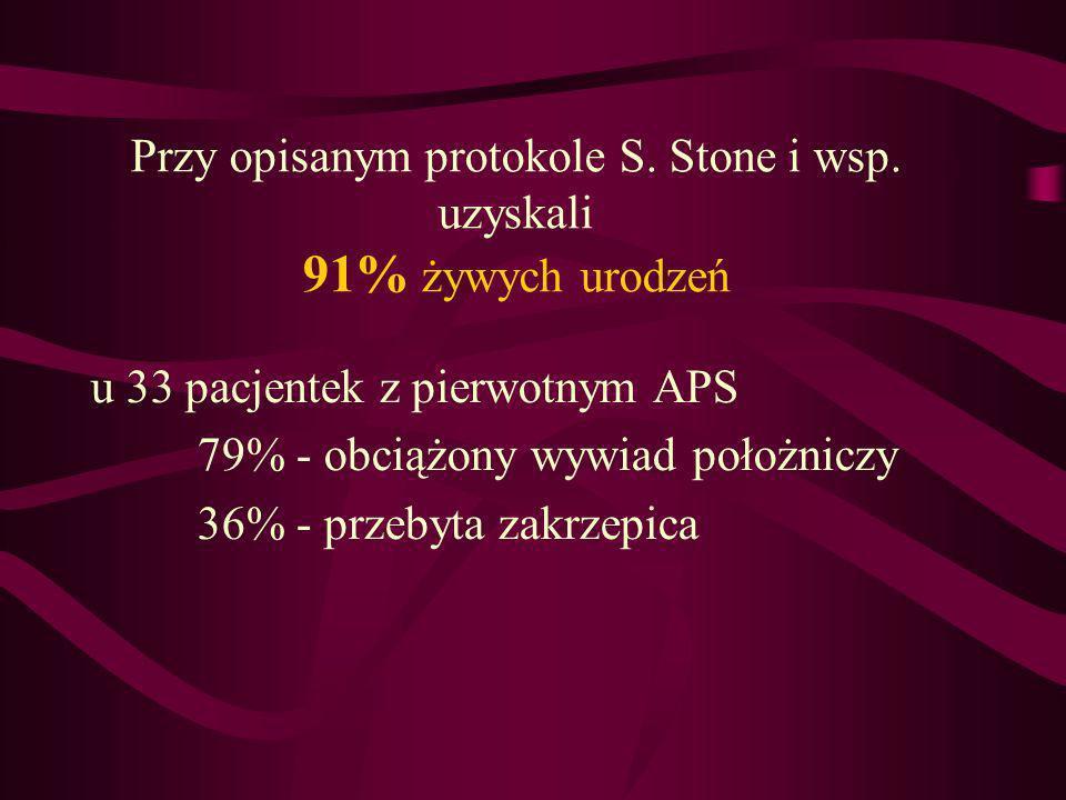 Przy opisanym protokole S. Stone i wsp. uzyskali 91% żywych urodzeń