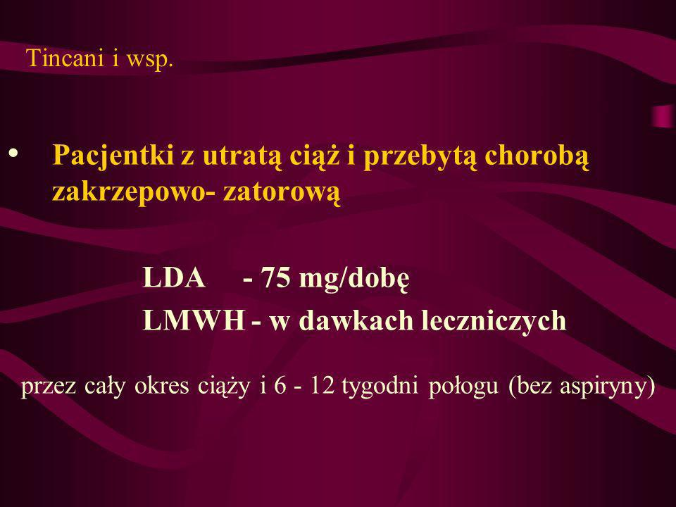 przez cały okres ciąży i 6 - 12 tygodni połogu (bez aspiryny)