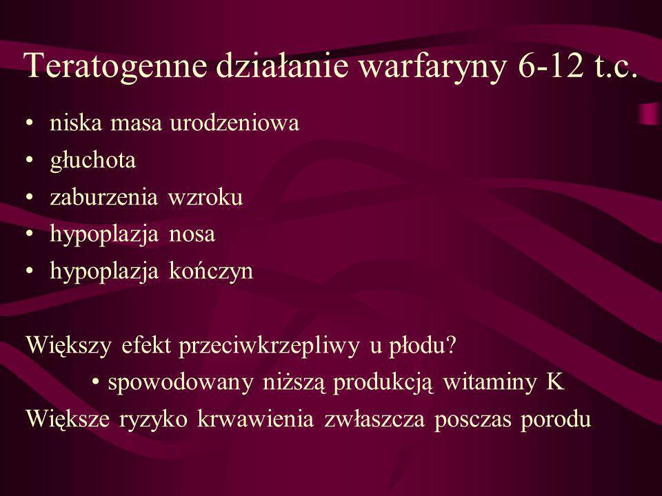 Teratogenne działanie warfaryny 6-12 t.c.